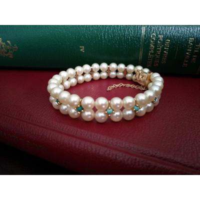 Bracelet En Or Composé De Perles De Culture Et De Turquoises