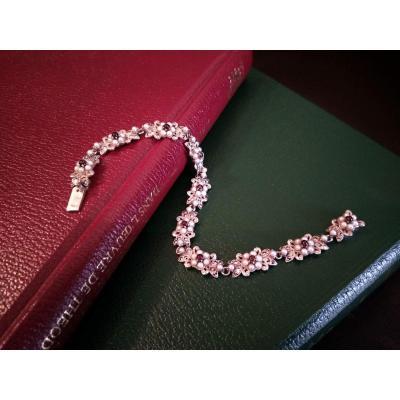 Bracelet En Argent Orné De Perles, De Grenats Et De Marcassites.