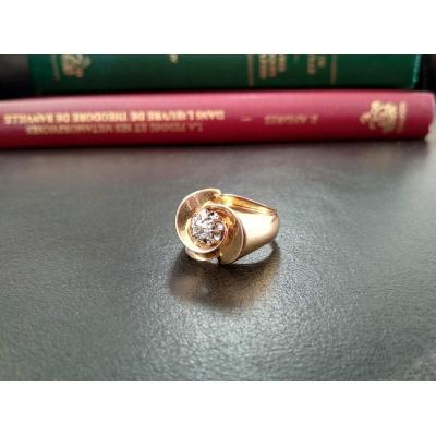 Gold Ring Set With Old-fashioned Diamond; Circa 1950
