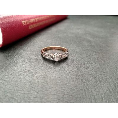 Bague En Or Ornée d'Un Diamant Taille Ancienne De 0,35 Carat