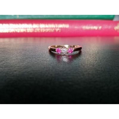 Bague Ancienne, Diamant Et Rubis