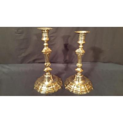 Paire De Bougeoirs bronze Argenté