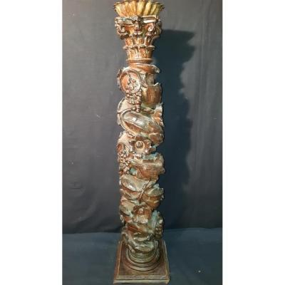 Column In Carved Wood 18th