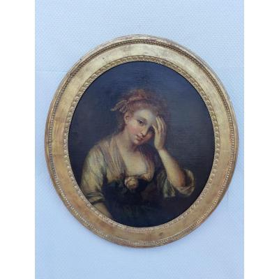 Portrait de jeune femme, entourage de Greuze - Huile Sur Toile - 18ème