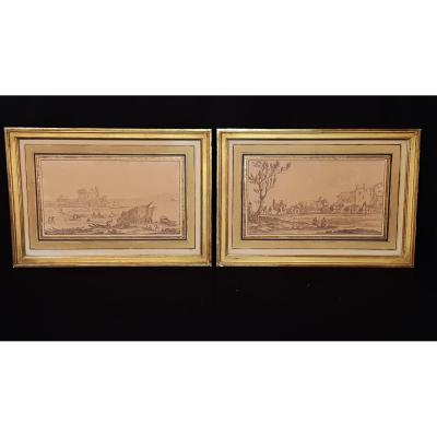 Pair Of Drawings - G.pérelle - 17th