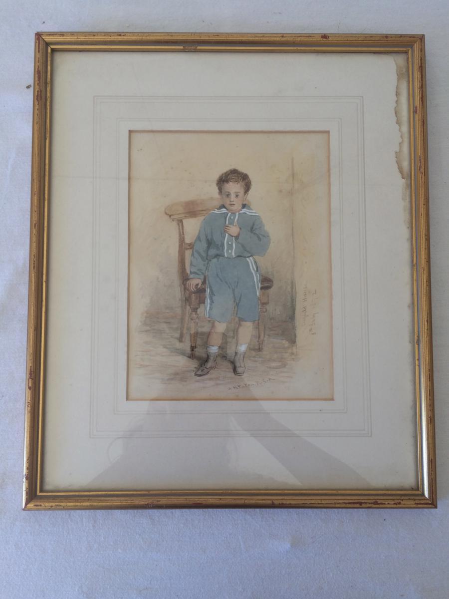 Aquarelle Gouache/papier de Waller Hugh Paton (1828-1895)  Portrait daté 1892