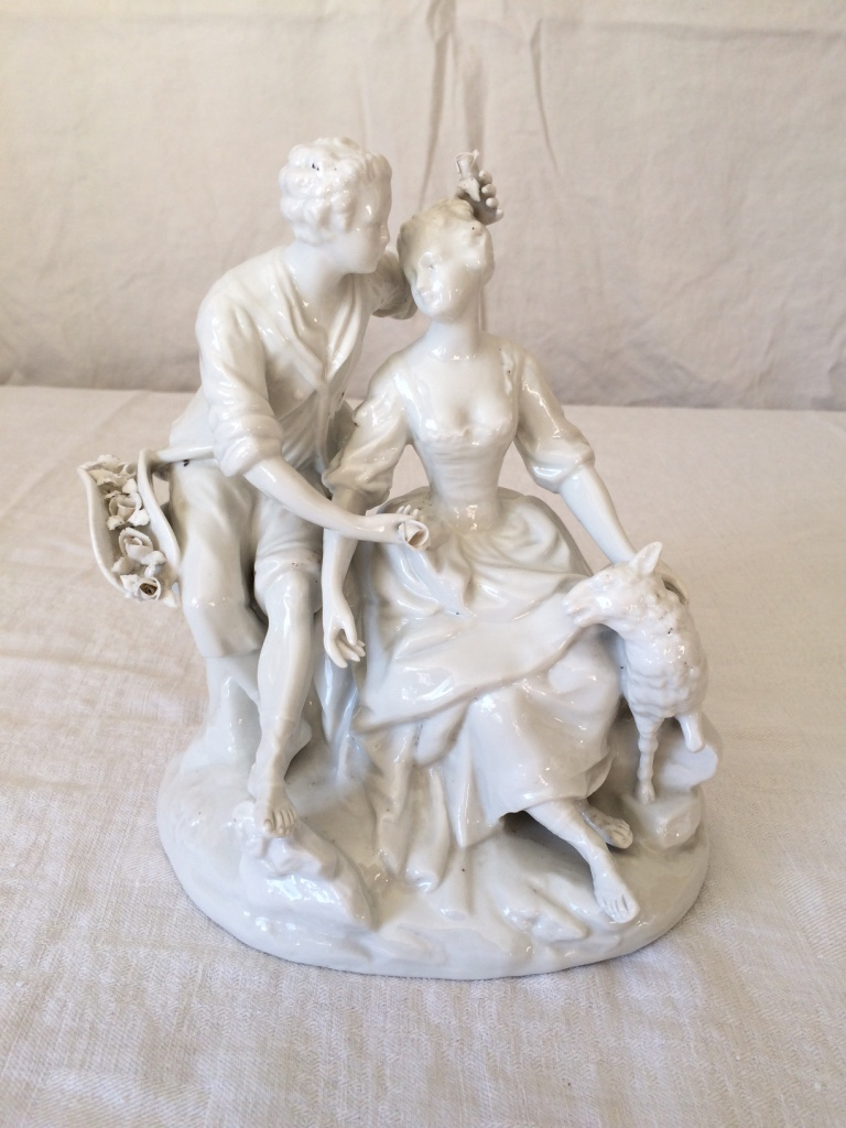 Porcelain Statue - Scene Galante Shepherd And Bergere
