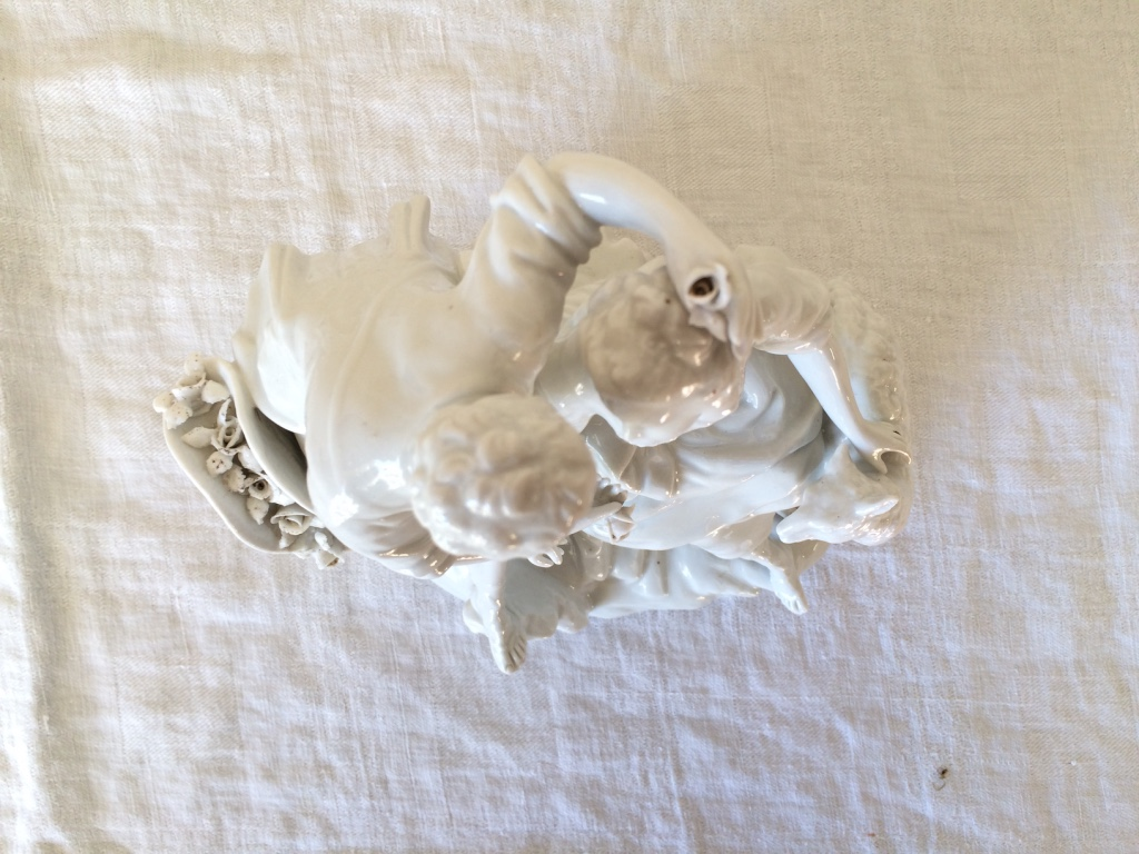 Porcelain Statue - Scene Galante Shepherd And Bergere-photo-2