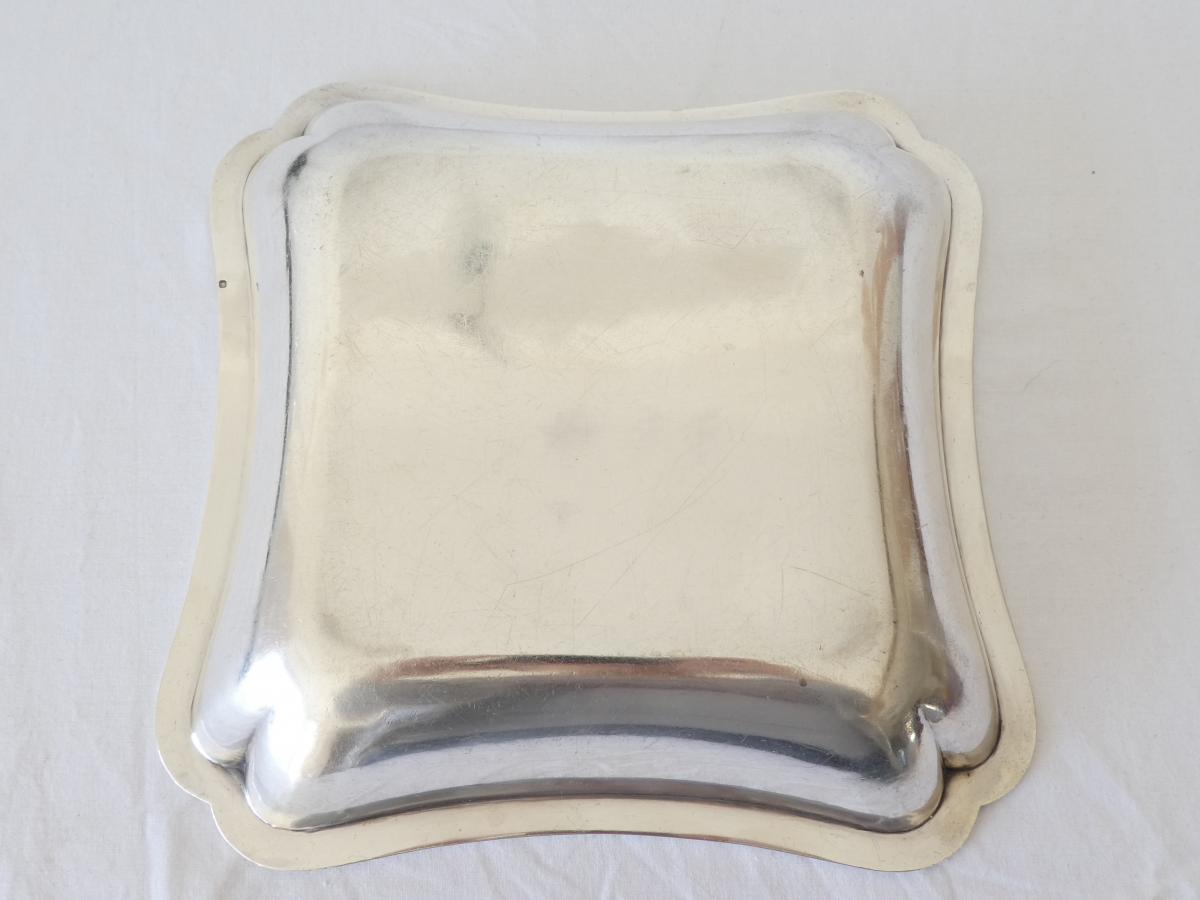 Square Hollow Dish In Sterling Silver-photo-2