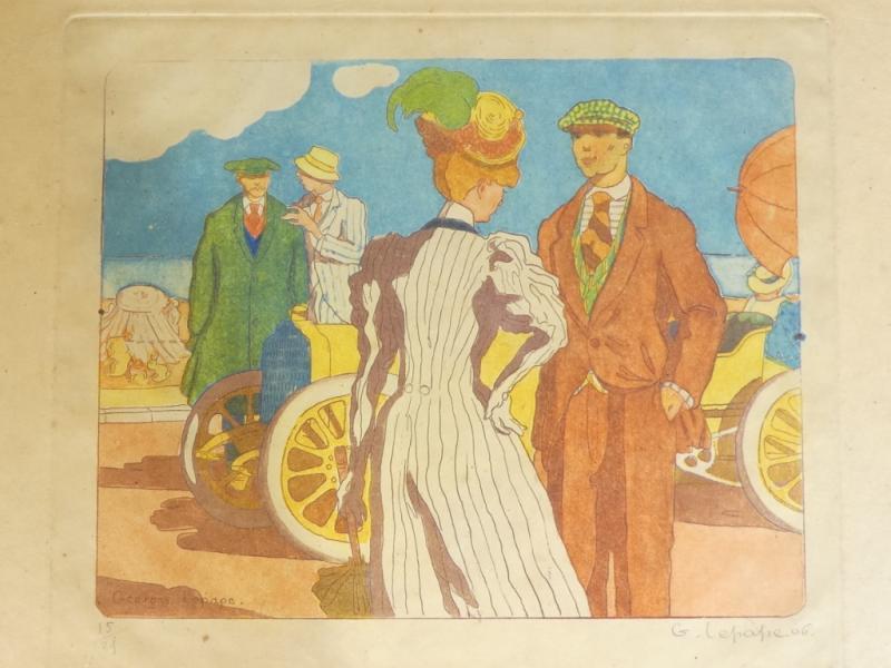 Georges Lepape 1887-1971 Eau Forte Aquatinte Couleur ''la Promenade'' 1906-photo-1