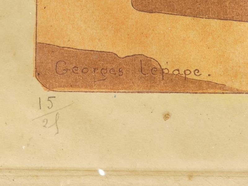 Georges Lepape 1887-1971 Eau Forte Aquatinte Couleur ''la Promenade'' 1906-photo-2