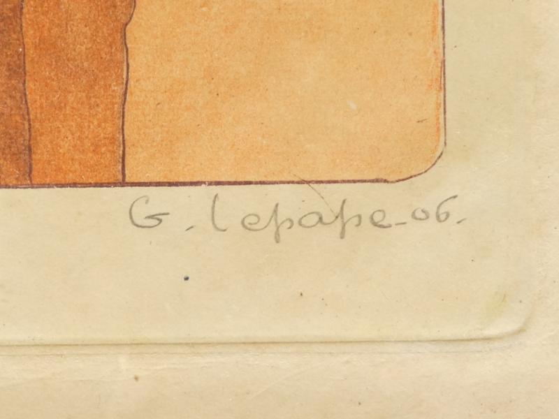 Georges Lepape 1887-1971 Eau Forte Aquatinte Couleur ''la Promenade'' 1906-photo-3