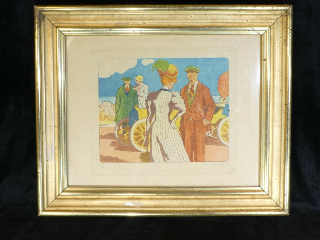 Georges Lepape 1887-1971 Rare Strong Water Aquatint Color '' The Promenade '' 1906