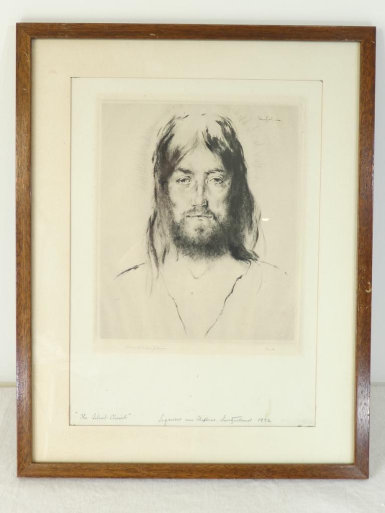 Gravure Originale Eau Forte 1932 - The Silent Christ '' De William Heintzelman