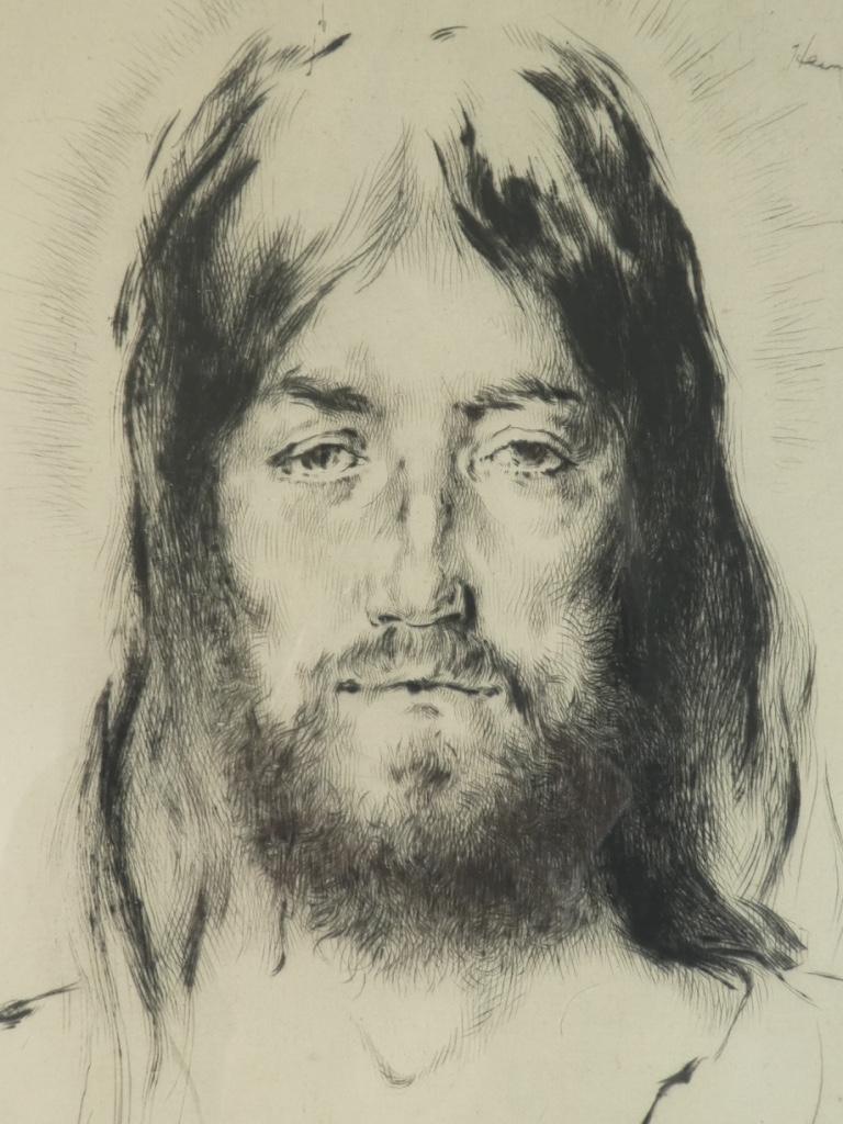 Gravure Originale Eau Forte 1932 - The Silent Christ '' De William Heintzelman-photo-1