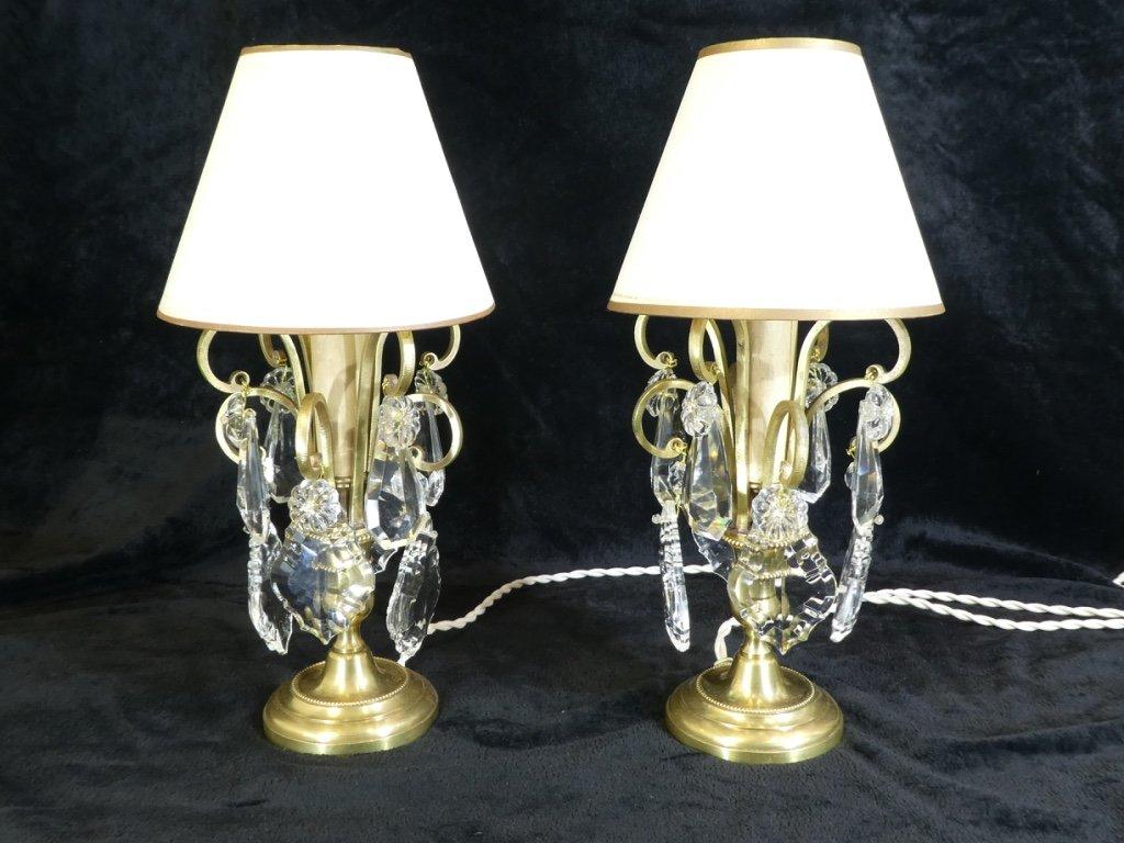 Pair Of Lamps Girandoles In Bronze And 1 Light Tassels