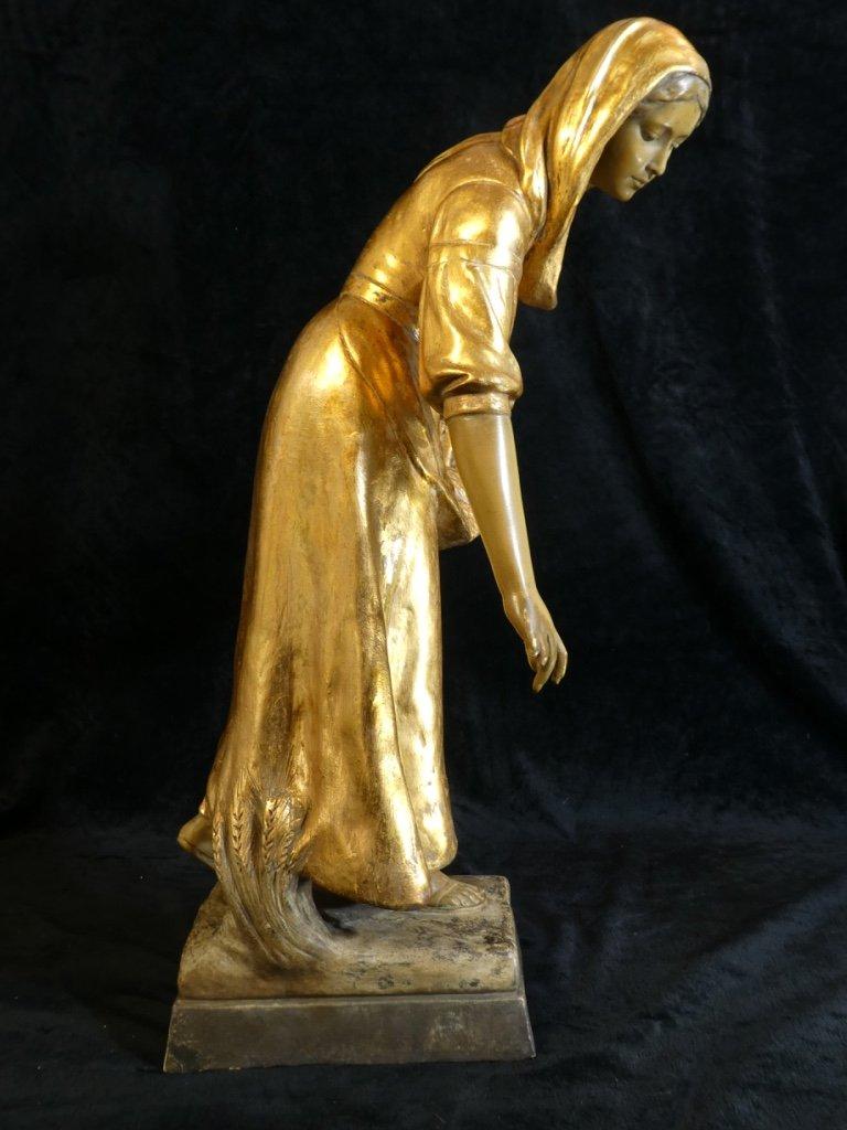 Grande Statue Terre Cuite Goldscheider '' Glaneuse '' Patine Doré-photo-3