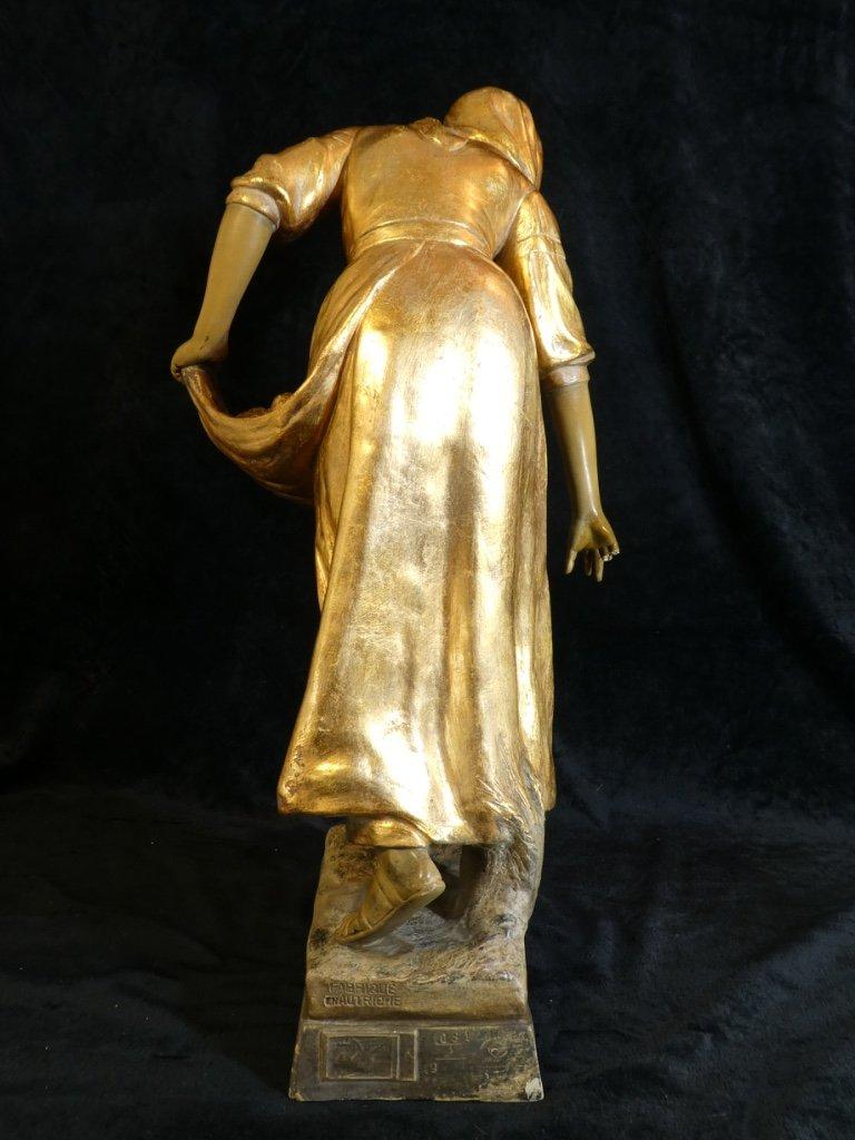 Grande Statue Terre Cuite Goldscheider '' Glaneuse '' Patine Doré-photo-4