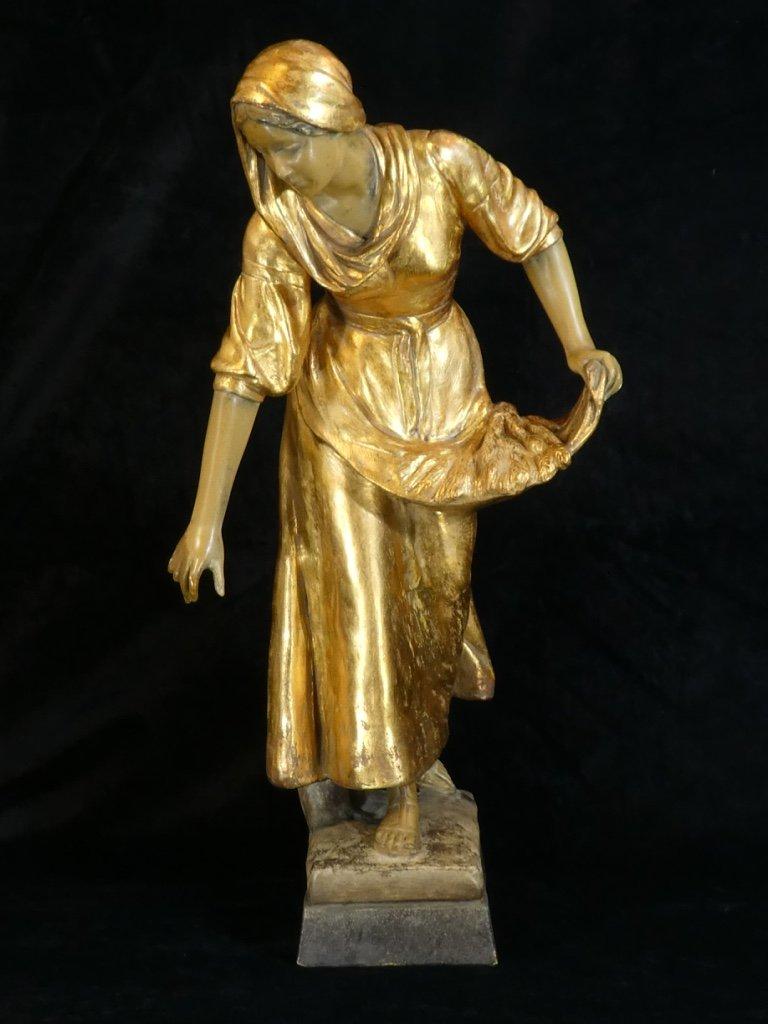 Grande Statue Terre Cuite Goldscheider '' Glaneuse '' Patine Doré-photo-2