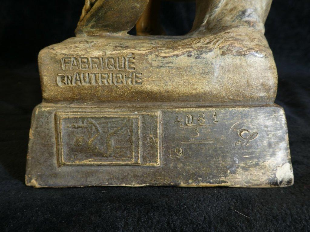 Grande Statue Terre Cuite Goldscheider '' Glaneuse '' Patine Doré-photo-1