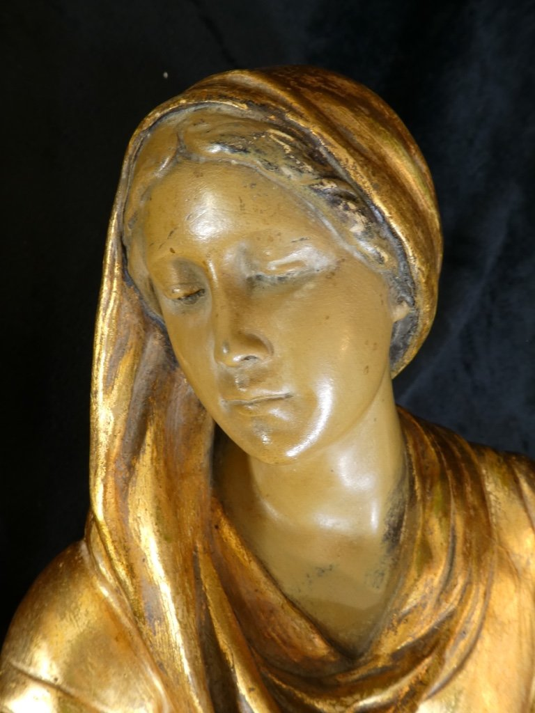 Grande Statue Terre Cuite Goldscheider '' Glaneuse '' Patine Doré-photo-6