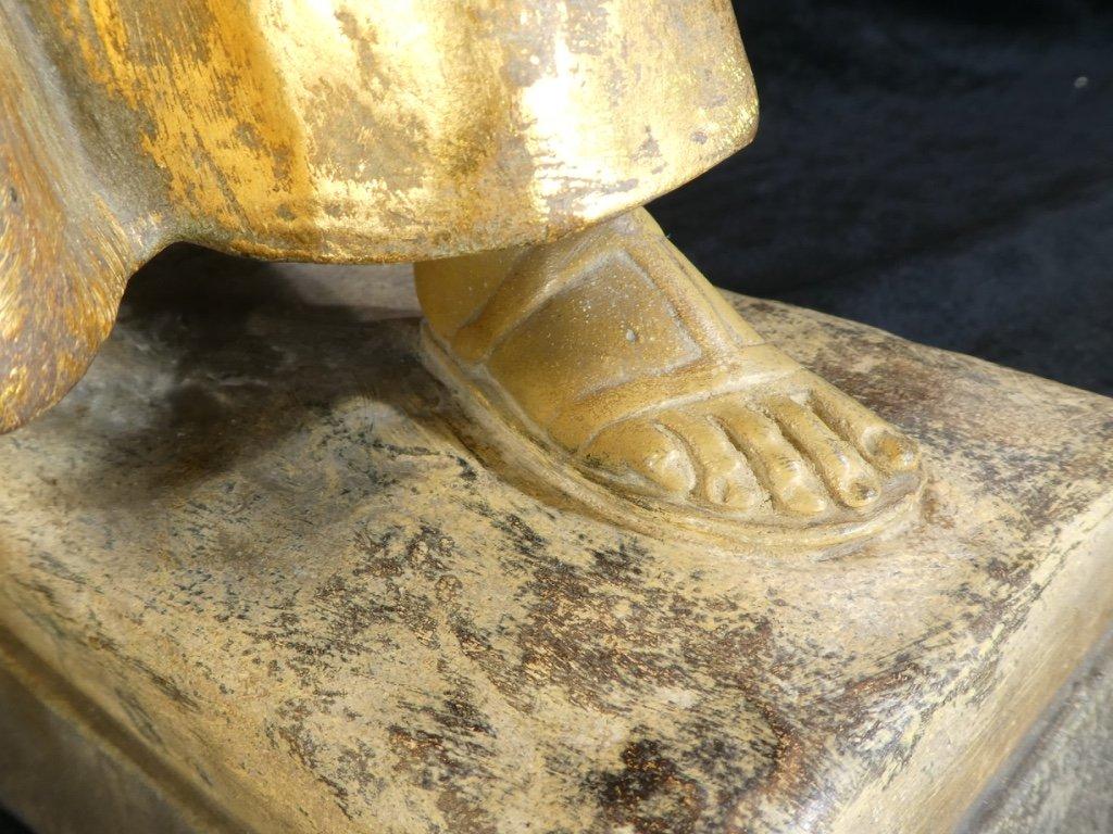 Grande Statue Terre Cuite Goldscheider '' Glaneuse '' Patine Doré-photo-7