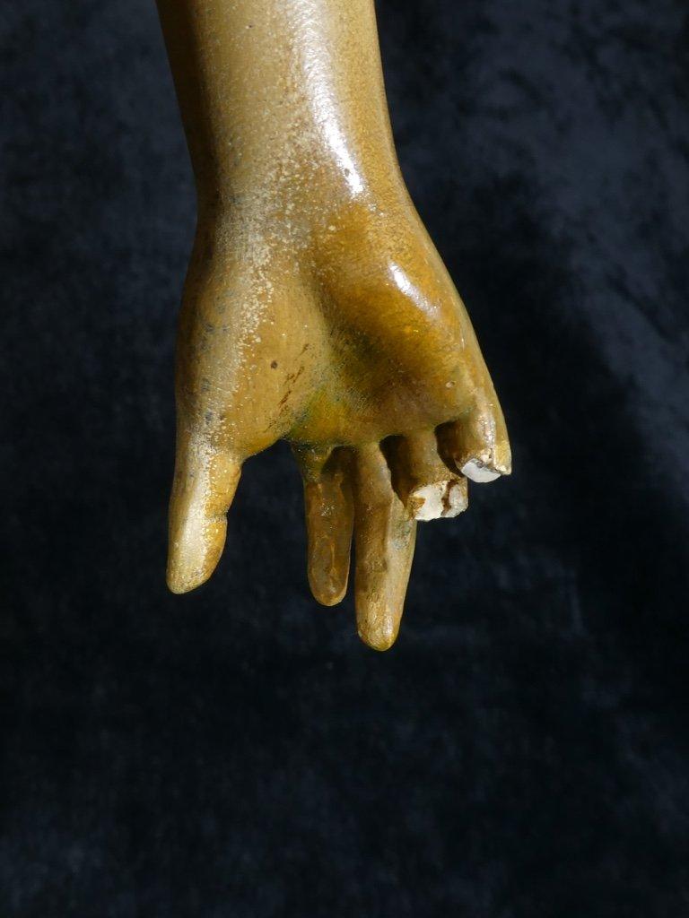 Grande Statue Terre Cuite Goldscheider '' Glaneuse '' Patine Doré-photo-8