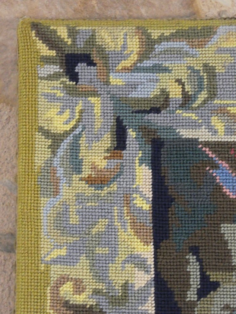 Aubusson Tapestry In Wool Greenery With Birds-photo-3