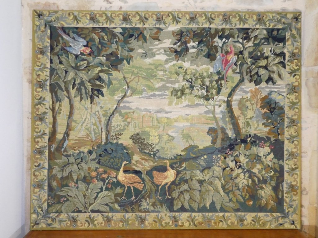 Aubusson Tapestry In Wool Greenery With Birds