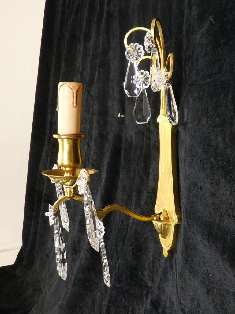 Belle Paire d'Appliques En Bronze Doré Avec Pampilles-photo-3