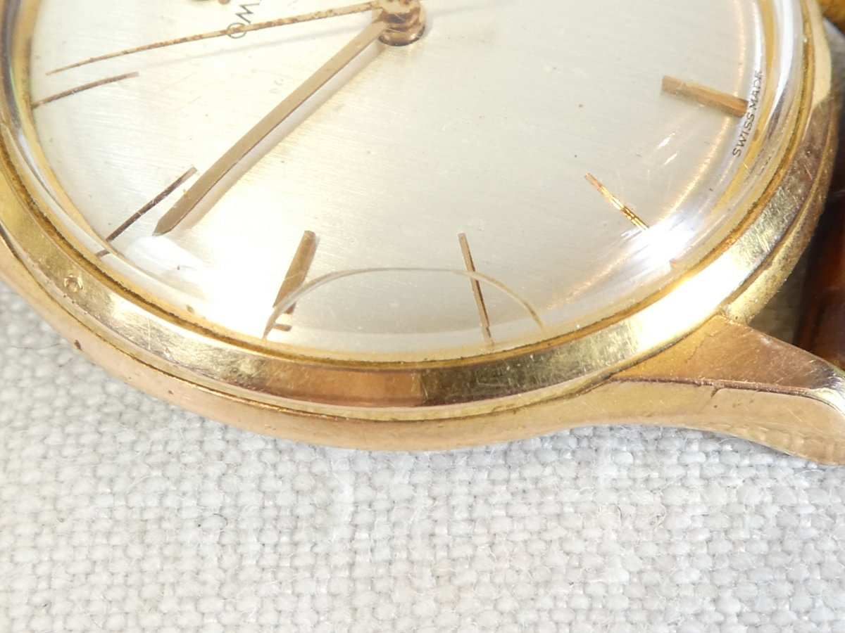 Old Omega Men's Watch Made Swiss Vintage Gold Plated Leather Strap-photo-6