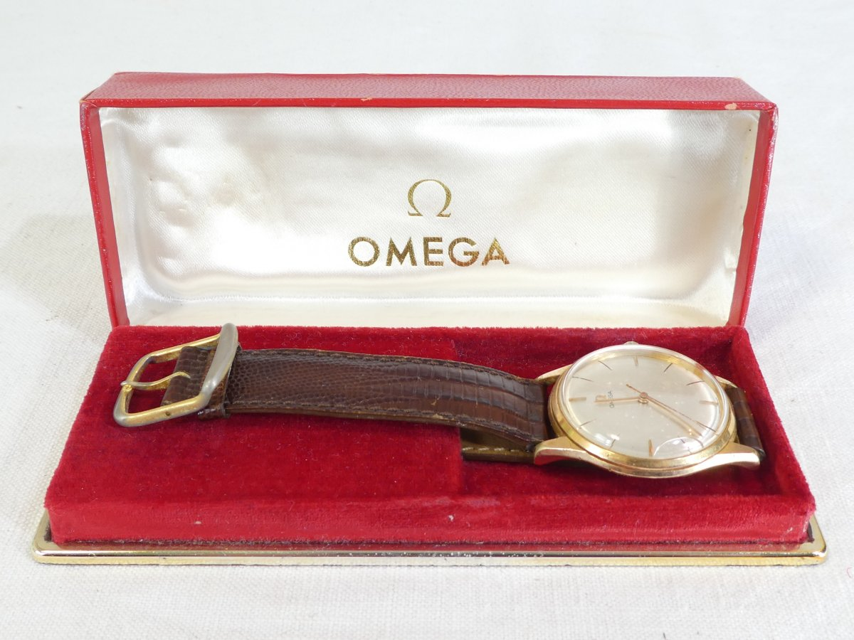 Old Omega Men's Watch Made Swiss Vintage Gold Plated Leather Strap-photo-7