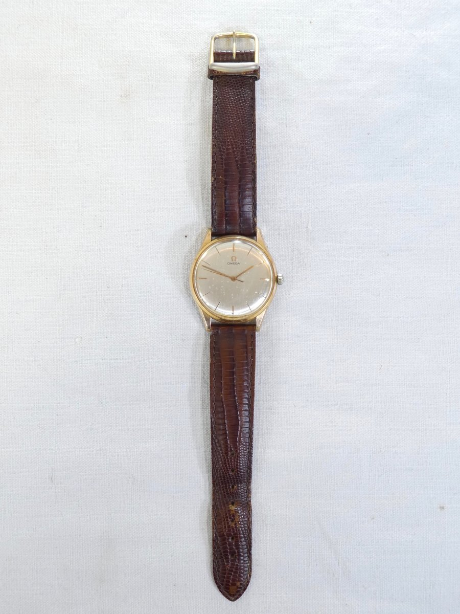 Old Omega Men's Watch Made Swiss Vintage Gold Plated Leather Strap