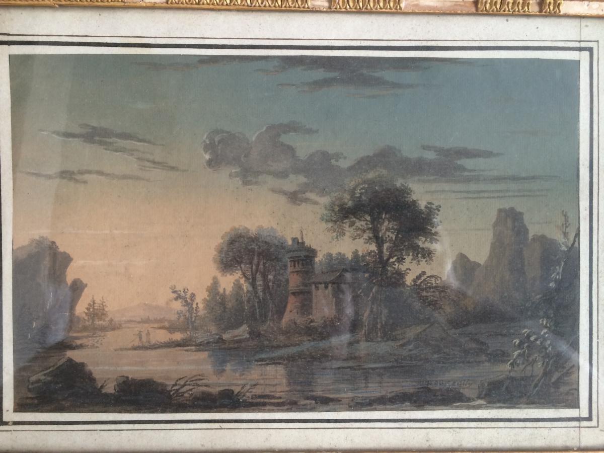Jean-baptiste Pourcelly  - Aquarelle Gouache/papier - Paysage-photo-2
