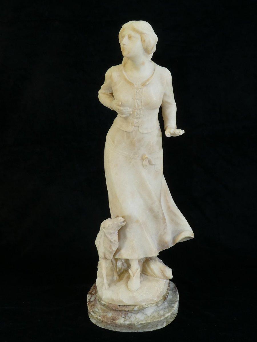 Statue En Albatre A. Del Perugia '' La Bergere '' 19eme-photo-4