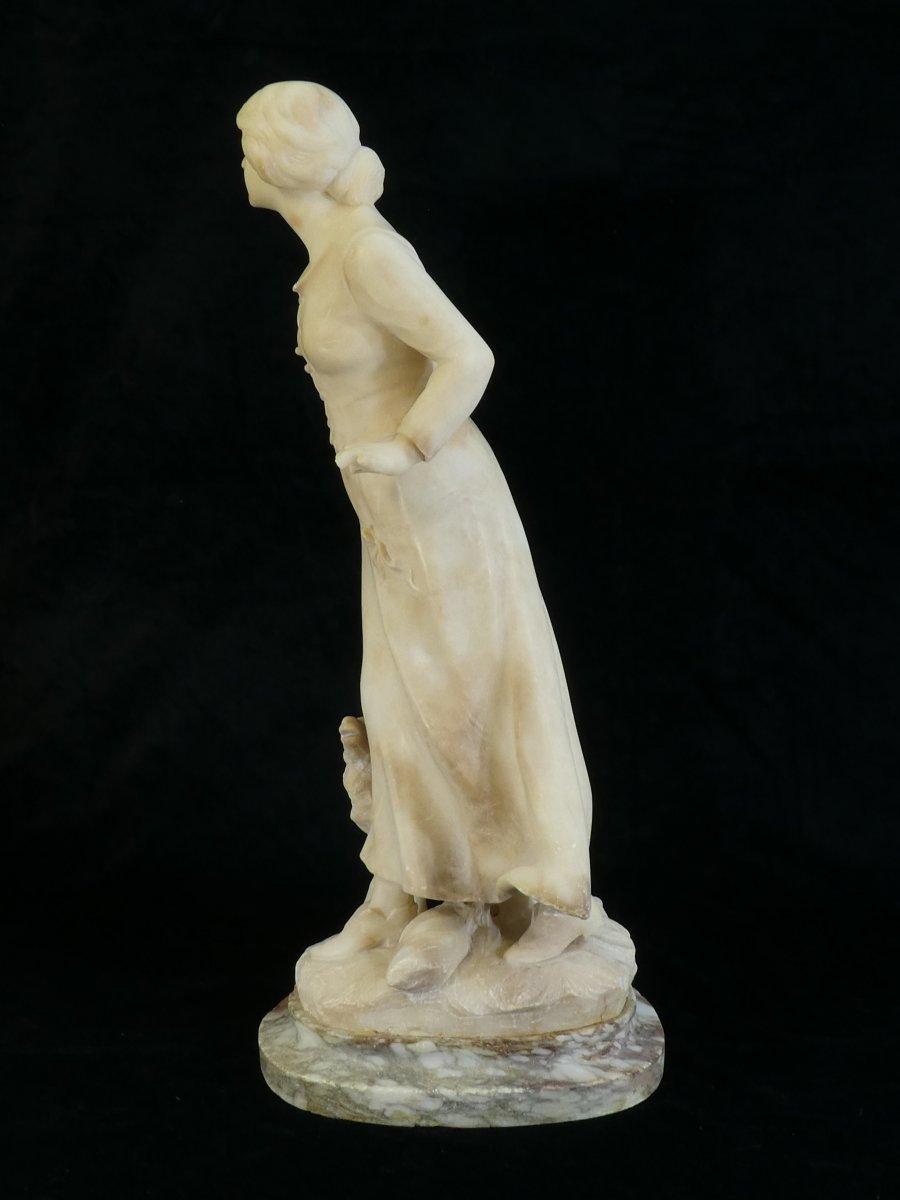 Statue En Albatre A. Del Perugia '' La Bergere '' 19eme-photo-1