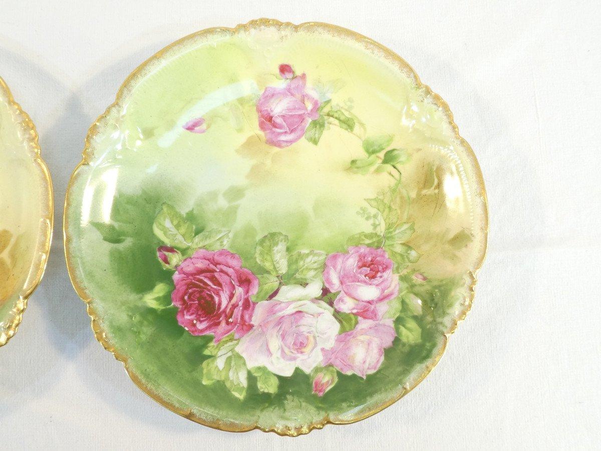Paire De Plat En Porcelaine De Limoges ''Mandavy De Mavaleix'' Décor Aux Roses-photo-2