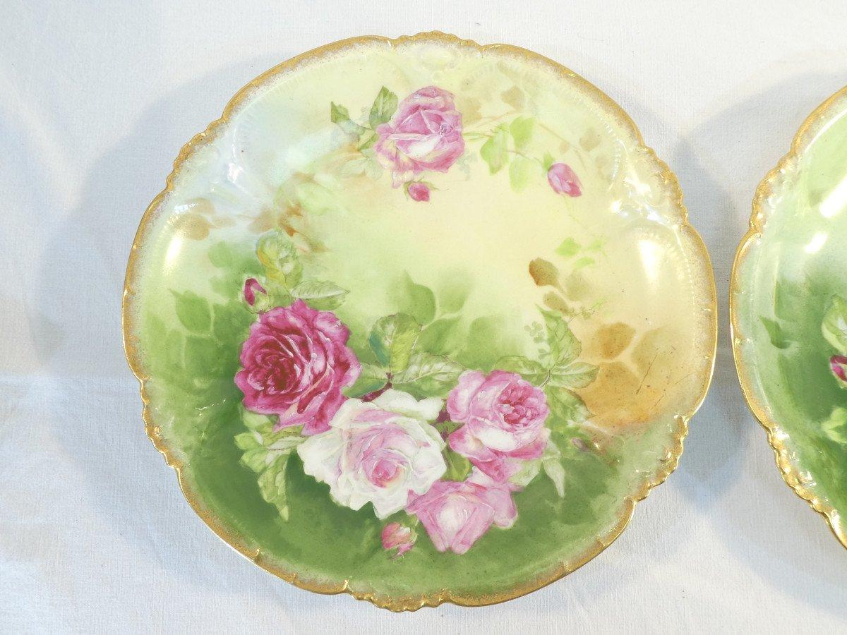 Paire De Plat En Porcelaine De Limoges ''Mandavy De Mavaleix'' Décor Aux Roses-photo-3