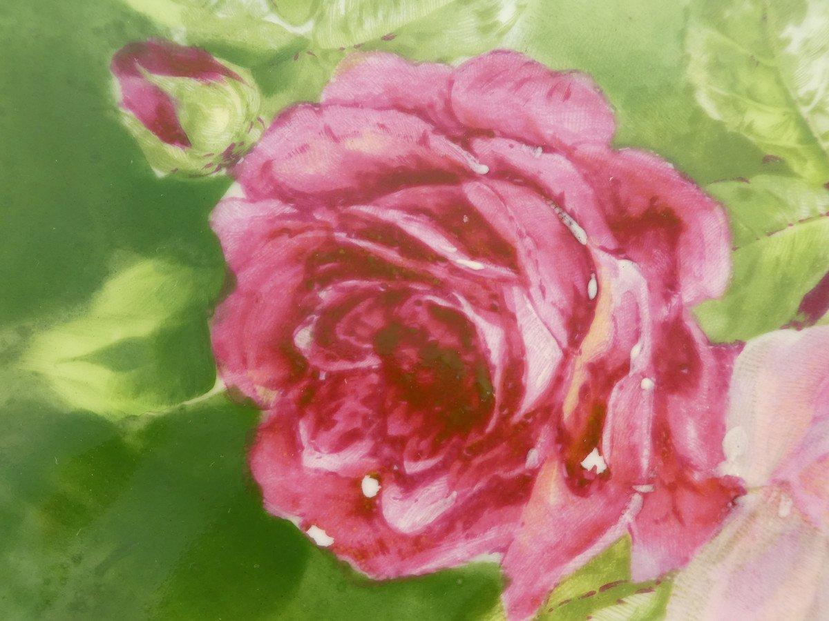 Paire De Plat En Porcelaine De Limoges ''Mandavy De Mavaleix'' Décor Aux Roses-photo-4