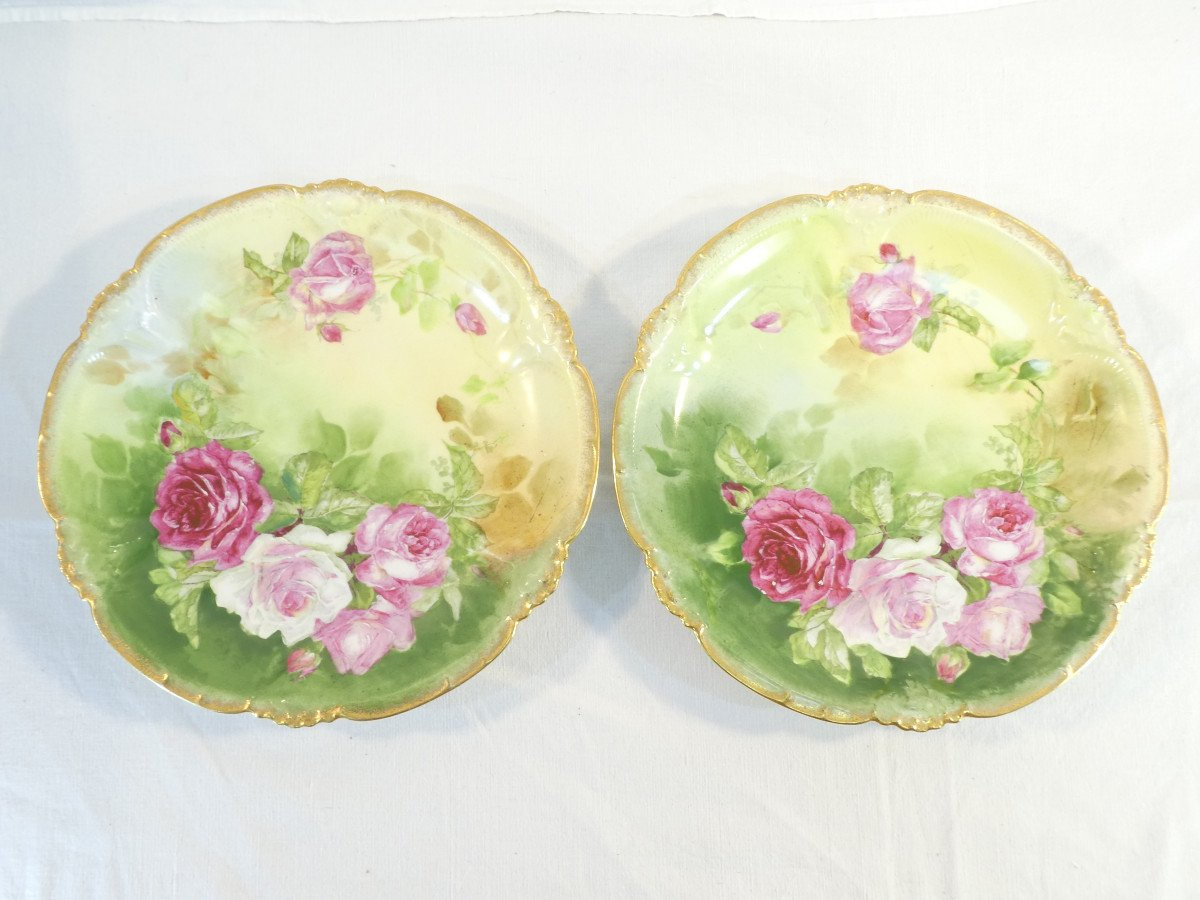 Paire De Plat En Porcelaine De Limoges ''Mandavy De Mavaleix'' Décor Aux Roses