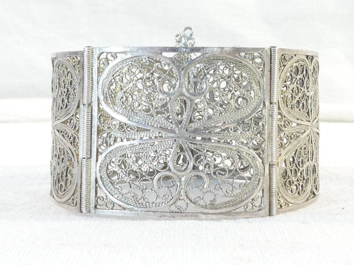 Articulated Bangle In Solid Silver Filigree-photo-2
