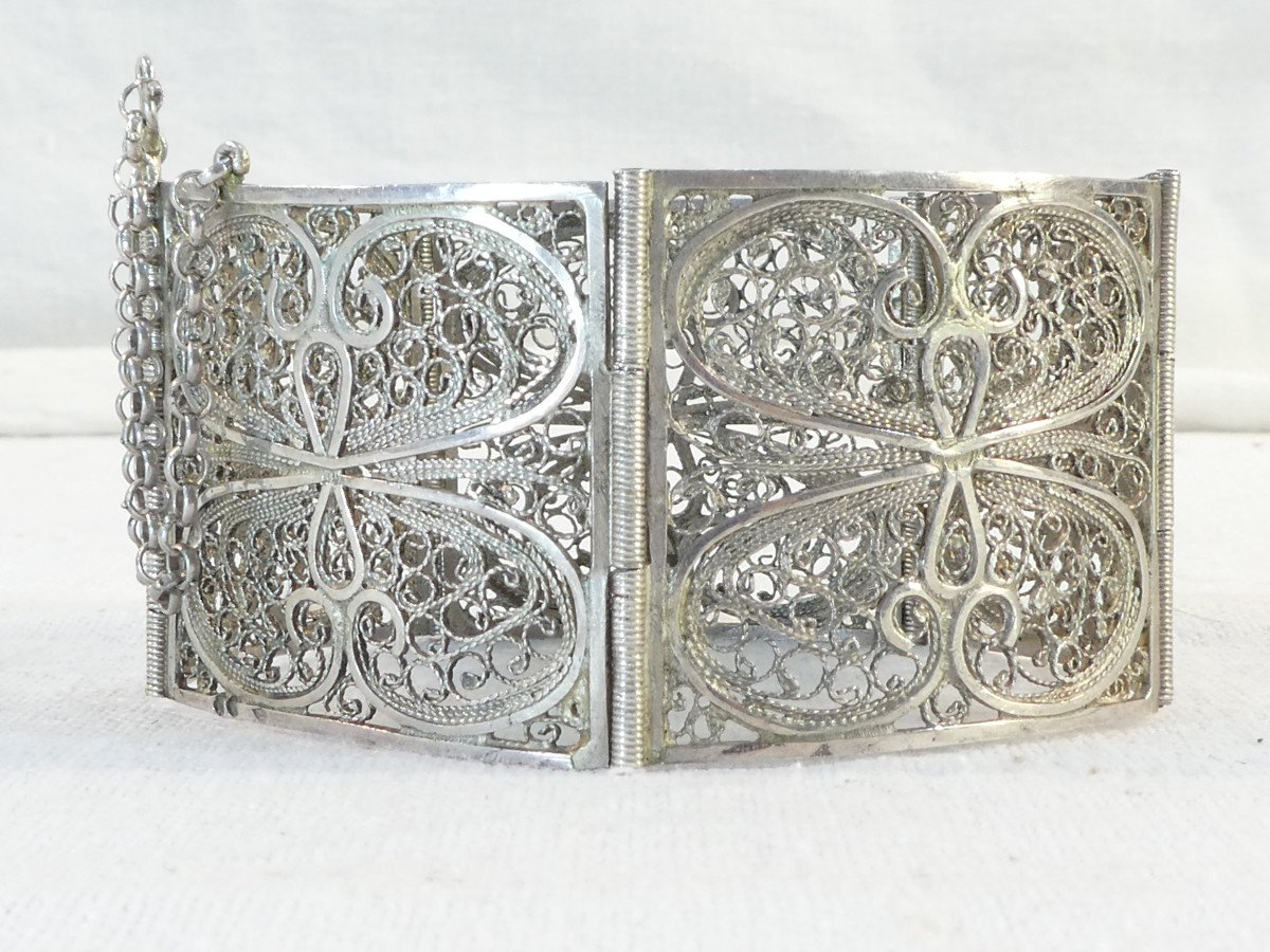 Articulated Bangle In Solid Silver Filigree-photo-3