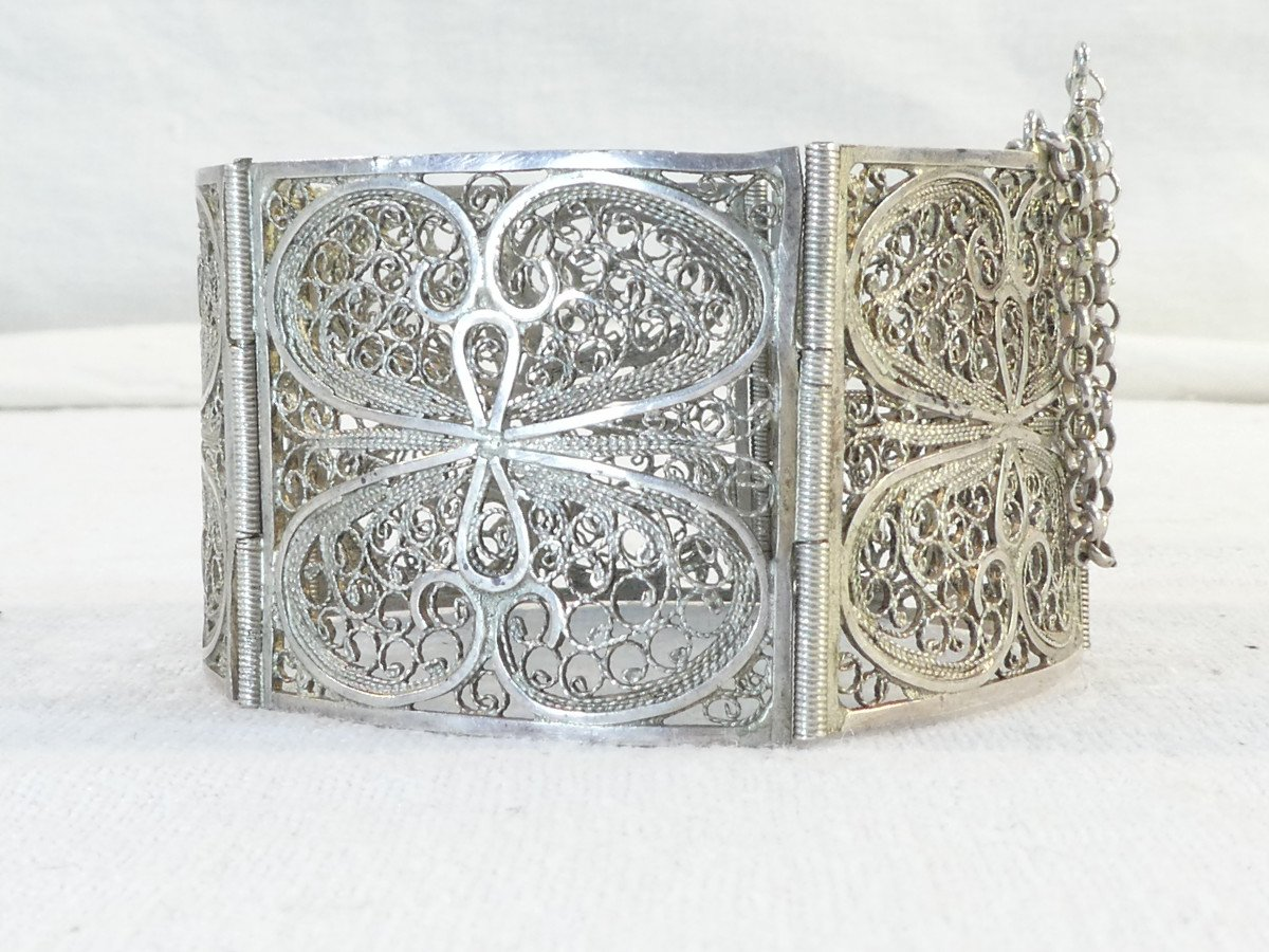 Articulated Bangle In Solid Silver Filigree-photo-1
