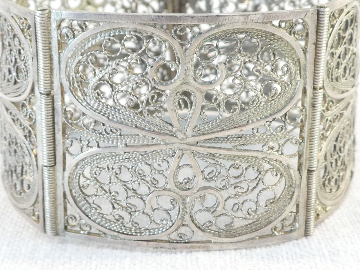 Articulated Bangle In Solid Silver Filigree-photo-4