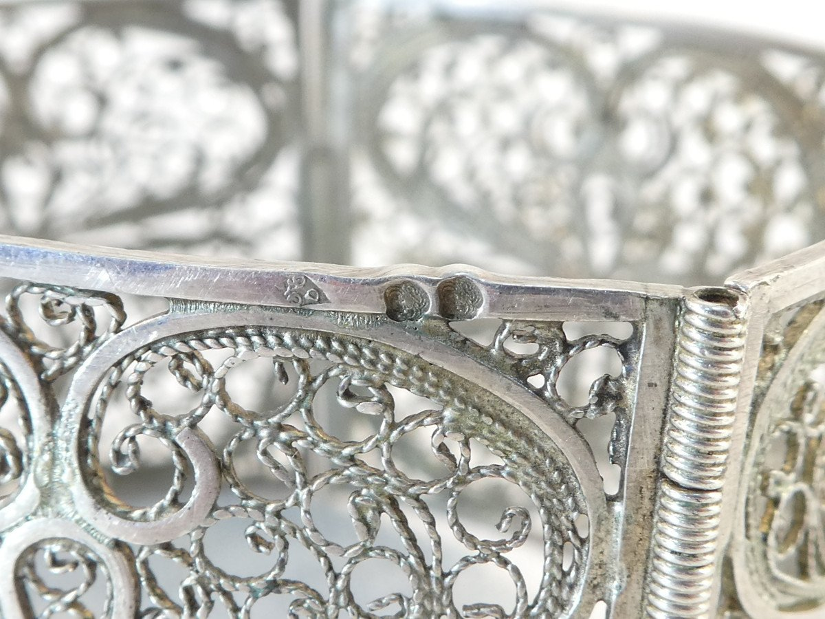 Articulated Bangle In Solid Silver Filigree-photo-5