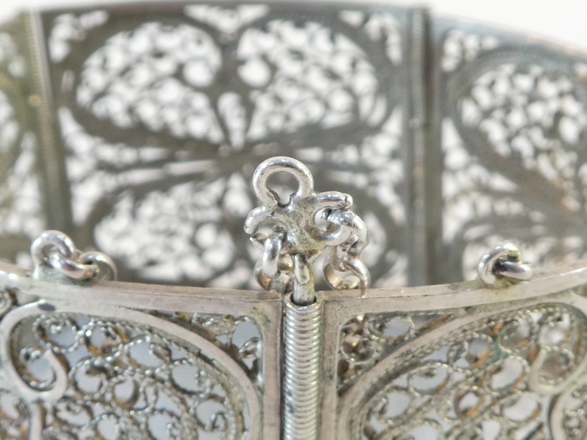 Articulated Bangle In Solid Silver Filigree-photo-8