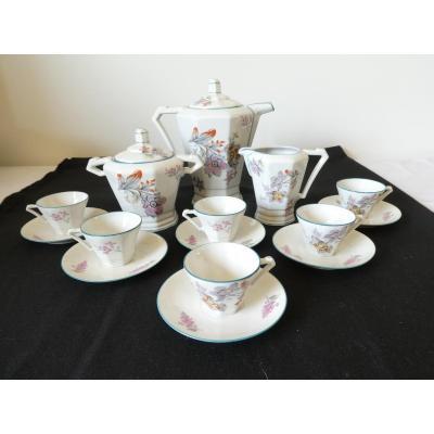 Coffee Service Art Deco Porcelain Signed Drb Limoges