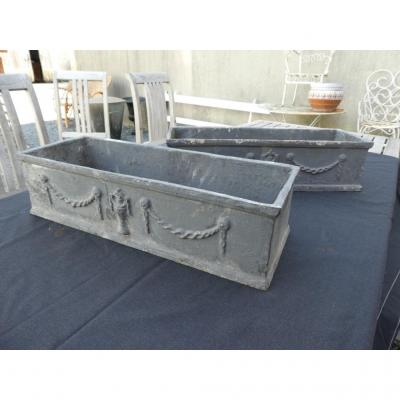 Pair Garden Garden Rectangular Cast Iron Louis XVI Style