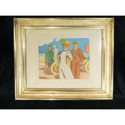 Georges Lepape 1887-1971 Eau Forte Aquatinte Couleur ''la Promenade'' 1906