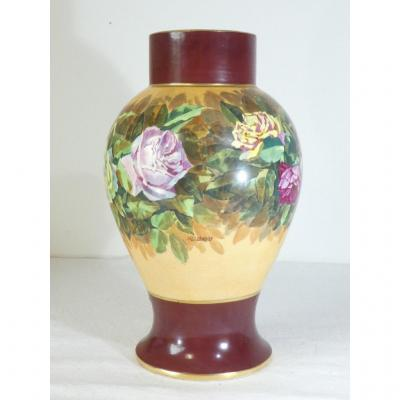 Baluster Vase In Limoges Porcelain - Rose Decor - Signed